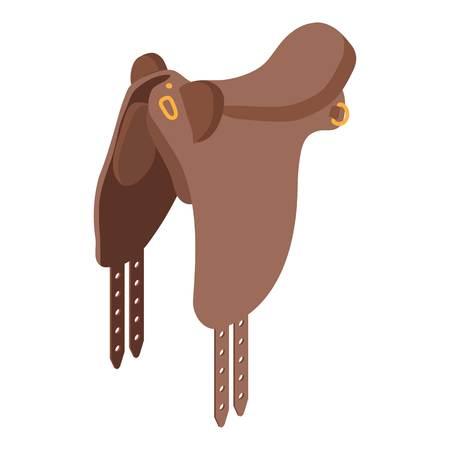 Horse saddle icon, isometric style