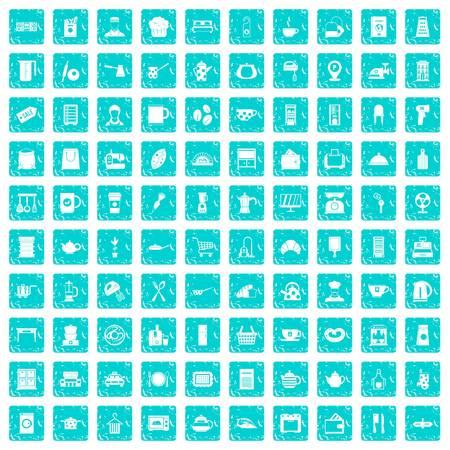 100 kitchen utensils icons set grunge blue 向量圖像