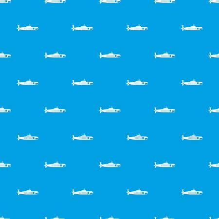 Military submarine pattern repeat seamless in blue color for any design. Vector geometric illustration Illustration