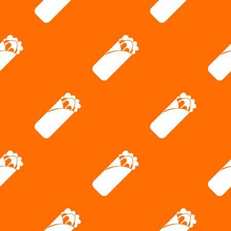 Shawarma sandwich pattern repeat seamless in orange color for any design. Vector geometric illustration