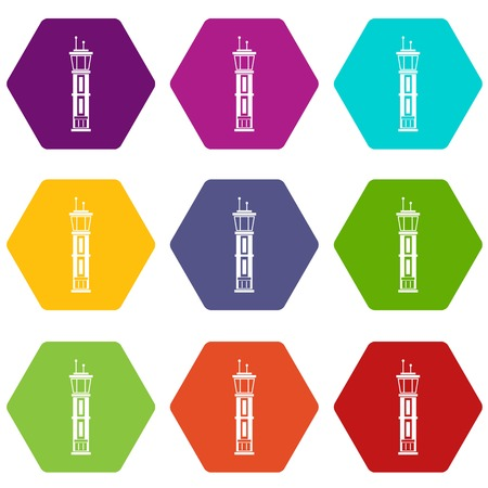 Airport control tower icon set many color hexahedron isolated on white vector illustration