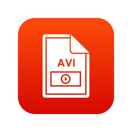 File AVI icon digital red for any design isolated on white vector illustration Illustration