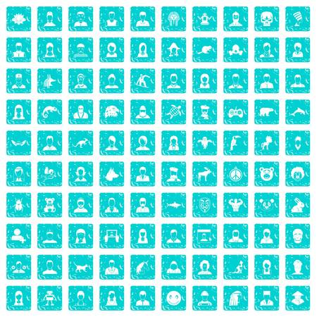 100 avatar icons set in grunge style blue color isolated on white background vector illustration Imagens - 88593192