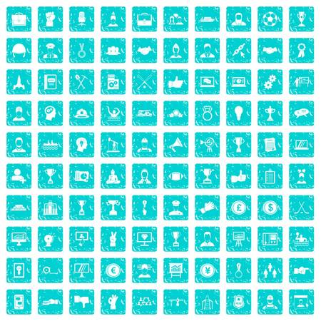 100 leadership icons set in grunge style blue color isolated on white background vector illustration
