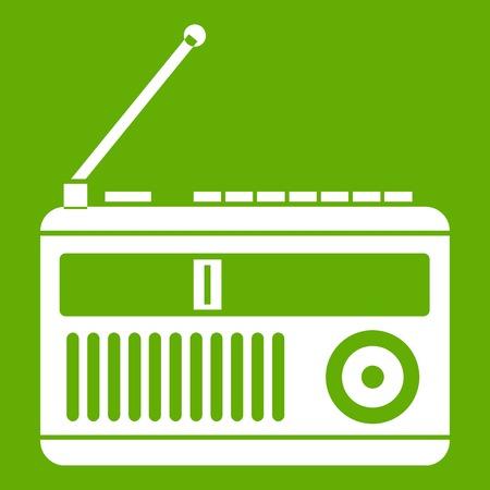 fm: Retro radio icon white isolated on green background. Vector illustration Illustration