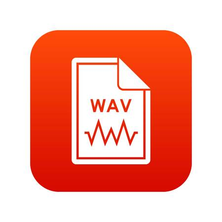 File WAV icon digital red for any design isolated on white vector illustration