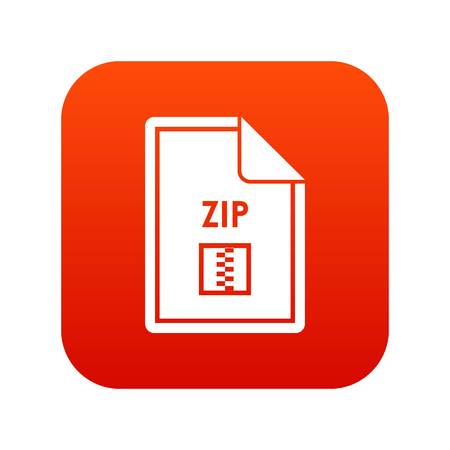 File ZIP icon digital red for any design isolated on white vector illustration