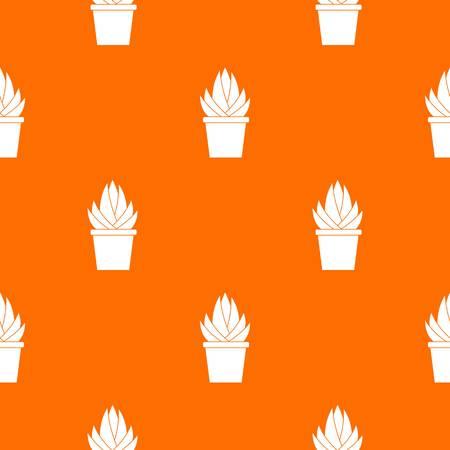 Aloe vera plant pattern repeat seamless in orange color for any design. Vector geometric illustration Illustration