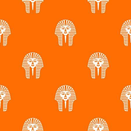 Tutankhamen mask pattern repeat seamless in orange color for any design. Vector geometric illustration