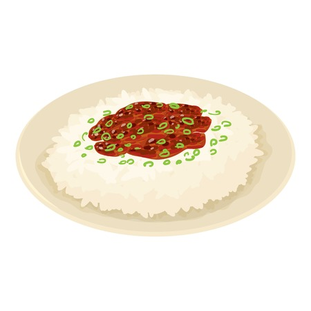 Rice on plate icon. Isometric illustration of rice on plate vector icon for web