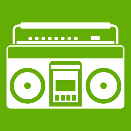 grabadora: Recorder icon white isolated on green background. Vector illustration Vectores