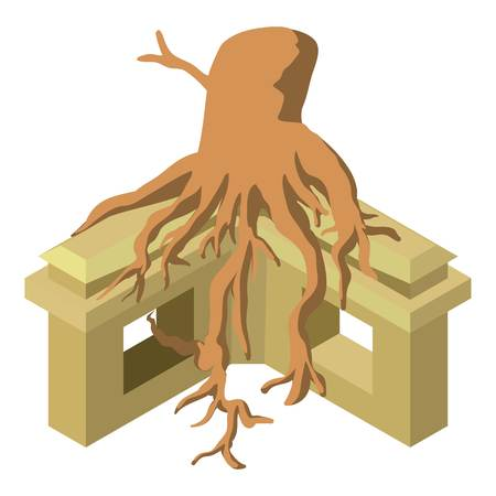 Temple with tree icon. Isometric illustration of temple with tree vector icon for web Illustration