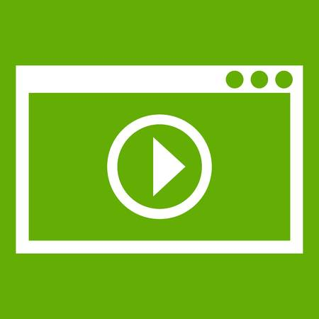 Program for video playback icon white isolated on green background. Vector illustration