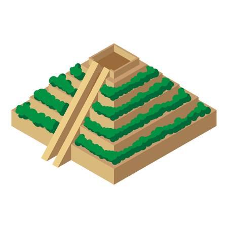 Mayan pyramid icon. Isometric illustration of mayan pyramid vector icon for web Illustration