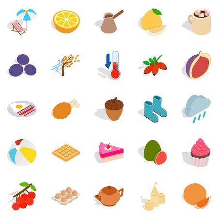 Mixture icons set. Isometric set of 25 mixture vector icons for web isolated on white background Illustration