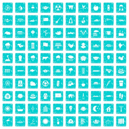 100 lotus icons set in grunge style blue color isolated on white background vector illustration