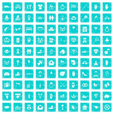 100 love icons set in grunge style blue color isolated on white background vector illustration