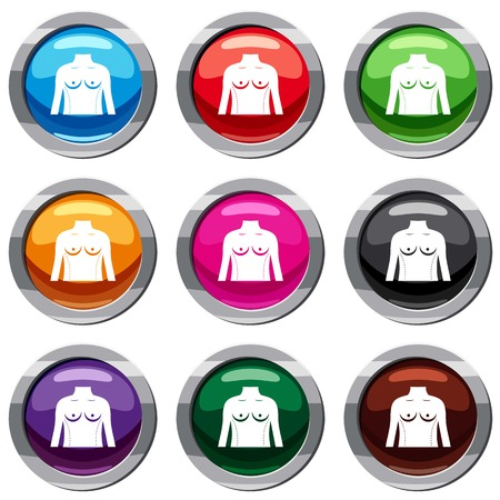 Plastic surgery of torso set icon isolated on white. 9 icon collection vector illustration