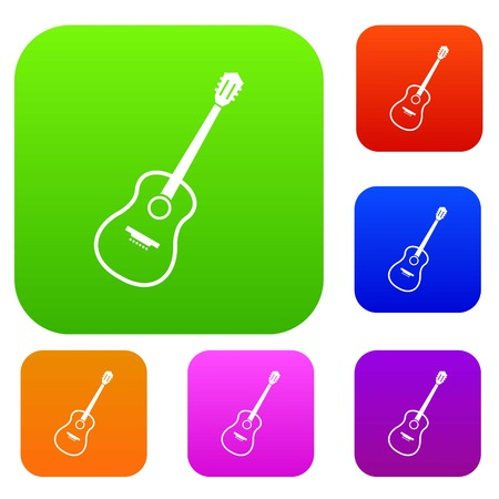 Charango set icon color in flat style isolated on white. Collection sings vector illustration Illustration