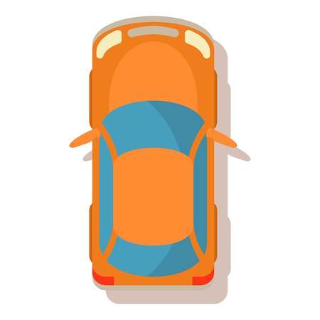 Orange car icon. Cartoon illustration of orange car vector icon for web Illustration