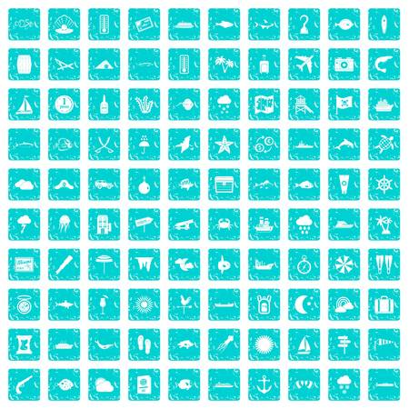 100 marine environment icons set grunge blue