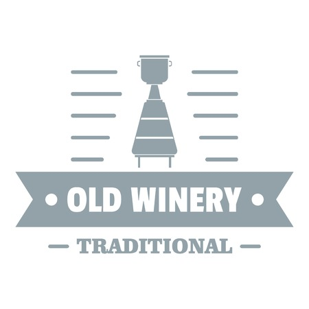 Old winery logo, simple gray style Illustration