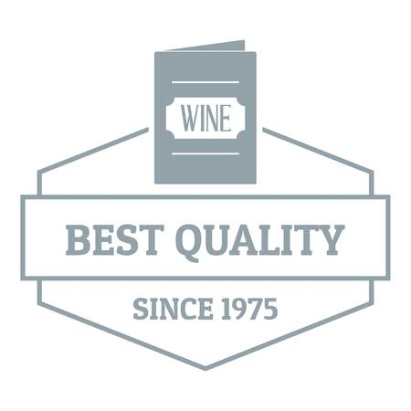 Wine menu logo, simple gray style Illustration