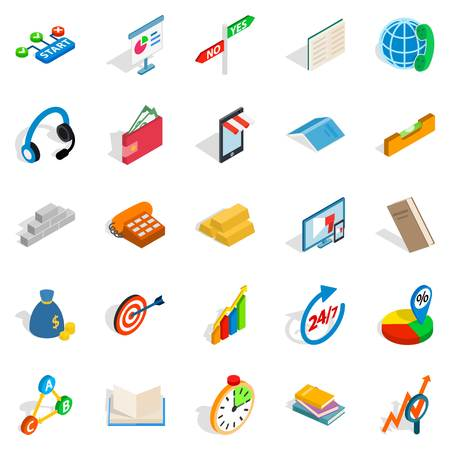 Collective icons set, isometric style Illustration