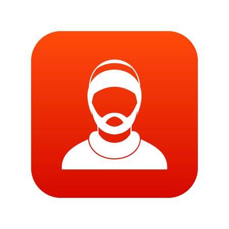Bearded man avatar icon digital red