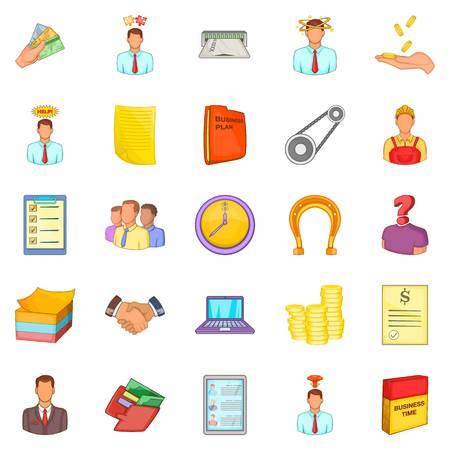 Hard work icons set, cartoon style