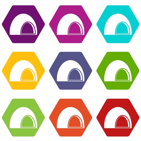 Souffle icon set color hexahedron