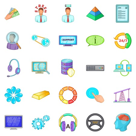 Business approach icons set, cartoon style
