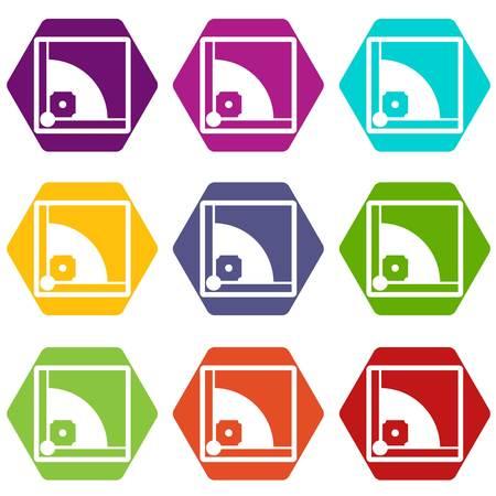 Baseball field icon set color hexahedron