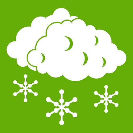sleet: Clouds and snow icon green Illustration