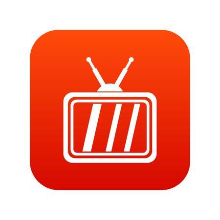 Retro TV icon digital red