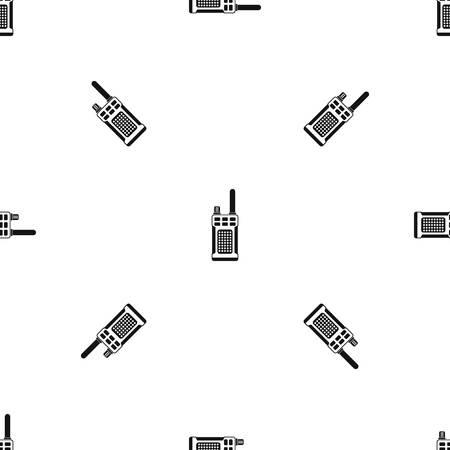 Patrón de radio portátil portátil sin costura negro Ilustración de vector