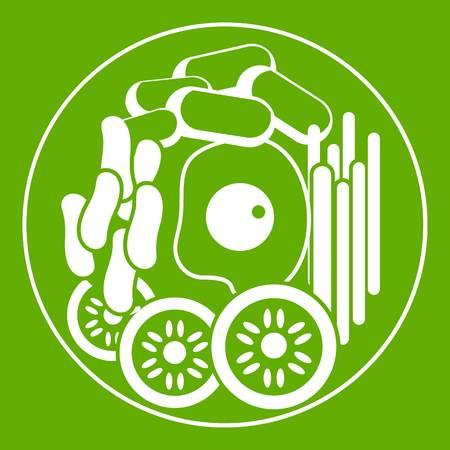 Dish of korean food icon green