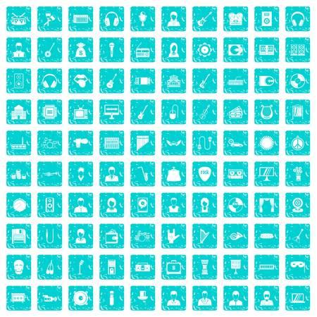 operetta: 100 music icons set grunge blue