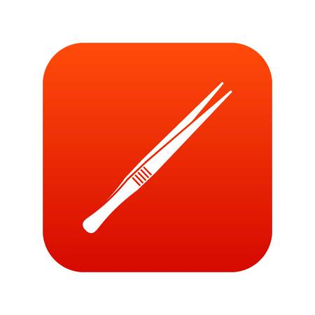 Tweezers icon digital red