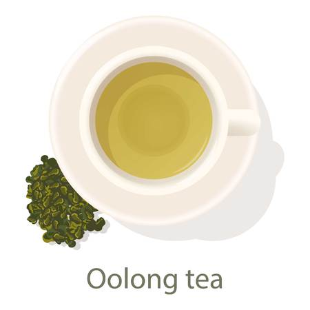Oolong tea icon, cartoon style