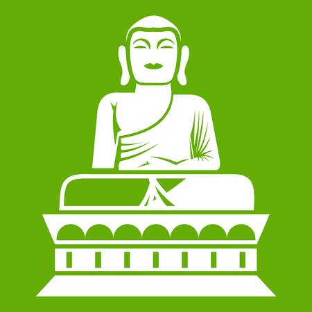 Buddha statue icon white isolated on green background. Vector illustration.