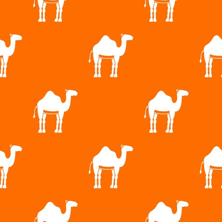 oasis: Camel pattern repeat seamless in orange color for any design. Vector geometric illustration.