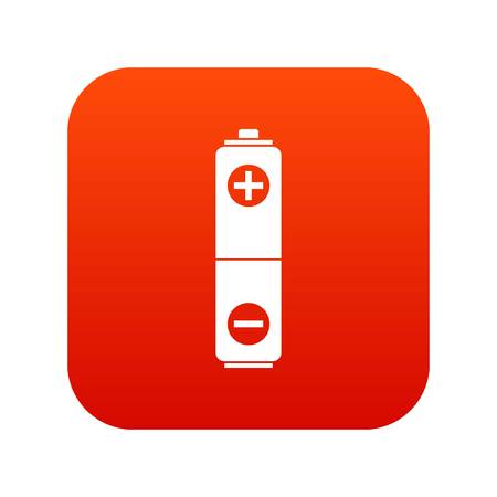 Battery icon digital red for any design isolated on white vector illustration. Illustration