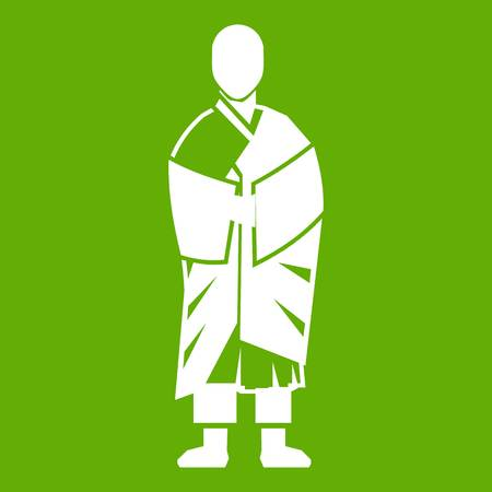 Buddhist monk icon white isolated on green background. Vector illustration. Illustration
