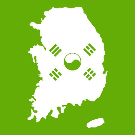 South Korea map with national flag icon white isolated on green background. Vector illustration.