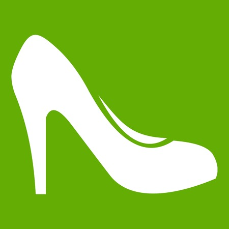 Women shoe with heels icon white isolated on green background. Vector illustration Illustration