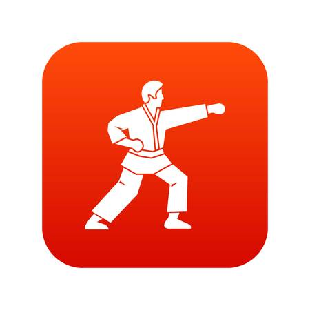 Aikido fighter icon digital red for any design isolated on white vector illustration