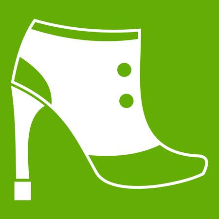 Women boots icon white isolated on green background. Vector illustration Illustration