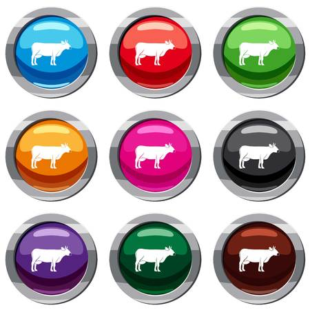 Cow set icon isolated on white. 9 icon collection vector illustration Illustration