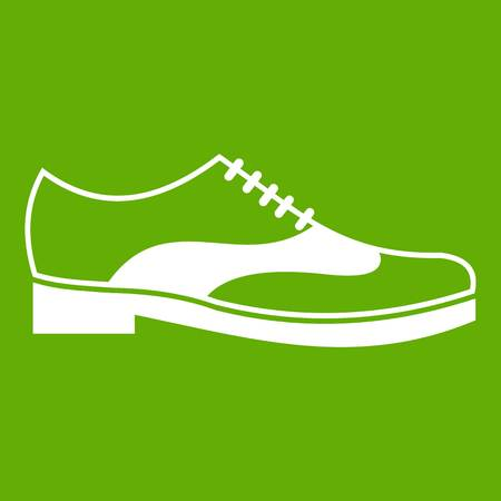 Men shoe with lace icon white isolated on green background. Vector illustration Illustration